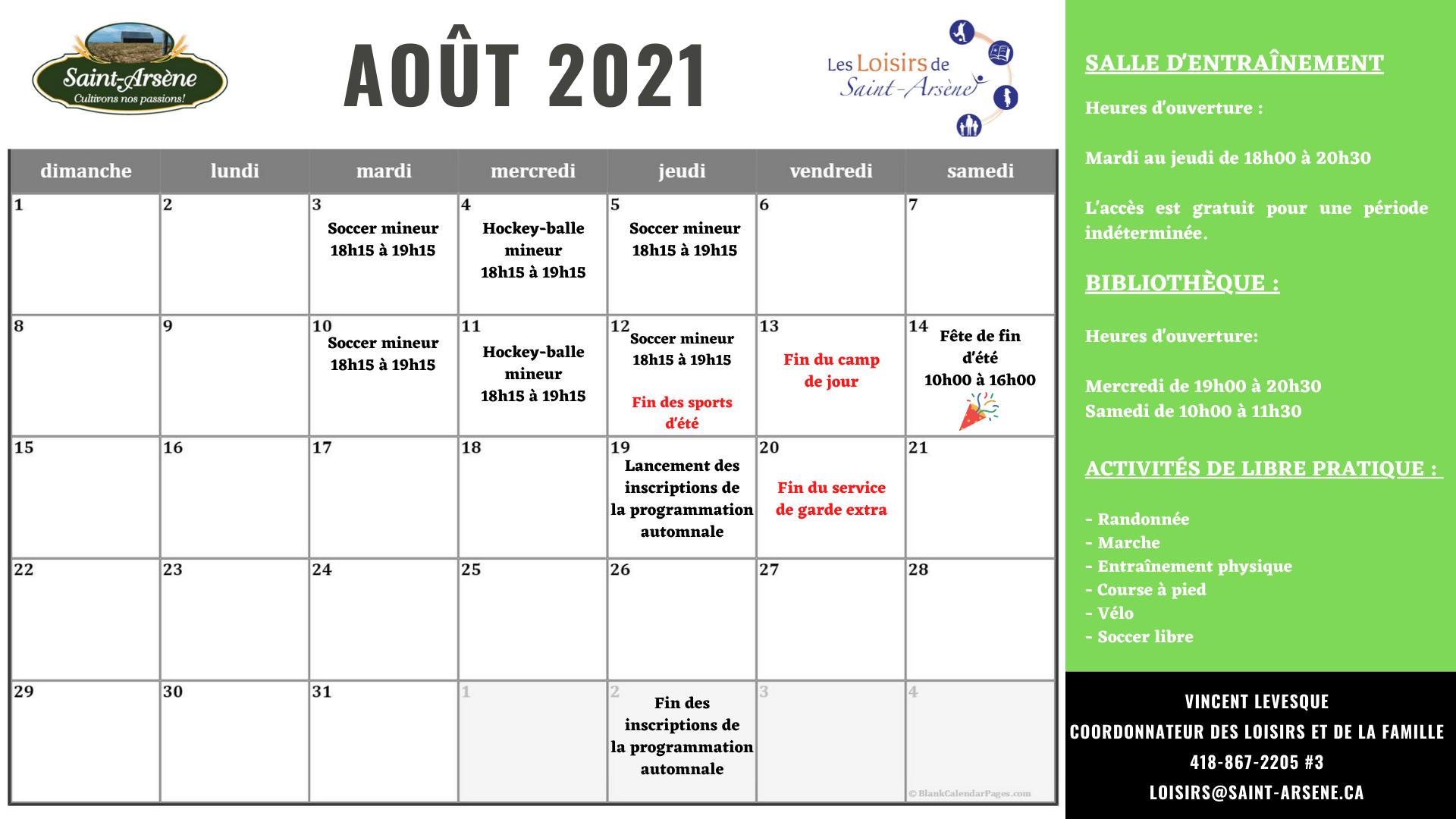 Calendrier activités loisirs août 2021