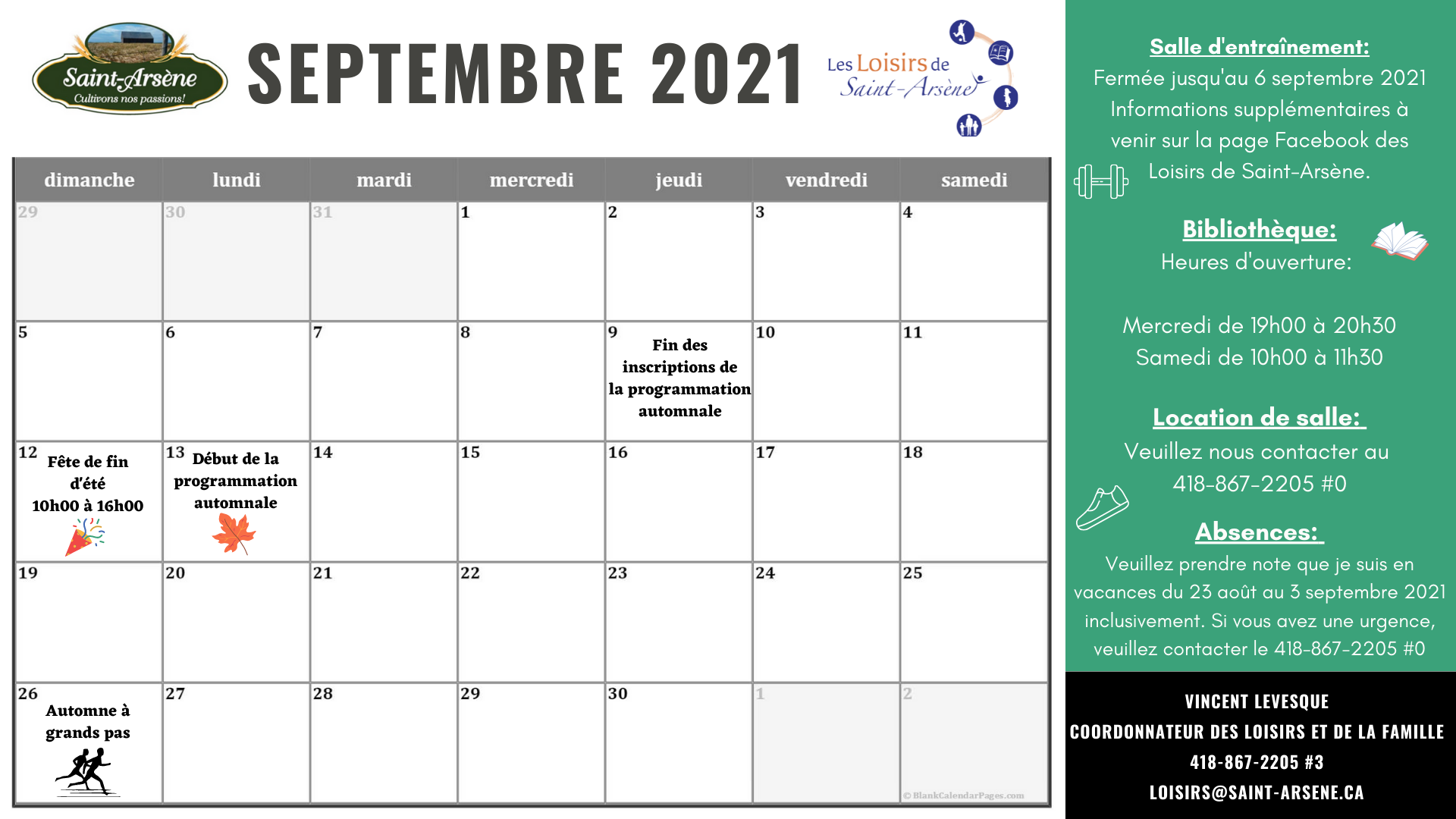 Calendrier activités loisirs septembre 2021