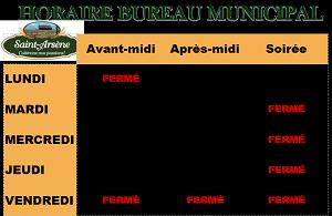 Horaire Bureau Municipal (vignette) (Auteur : Audrey Réhel)
