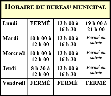 Horaire Bureau Municipal (Photo : © Louise Gagnon)