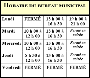 Horaire Bureau Municipal (vignette) (Photo : © Louise Gagnon)