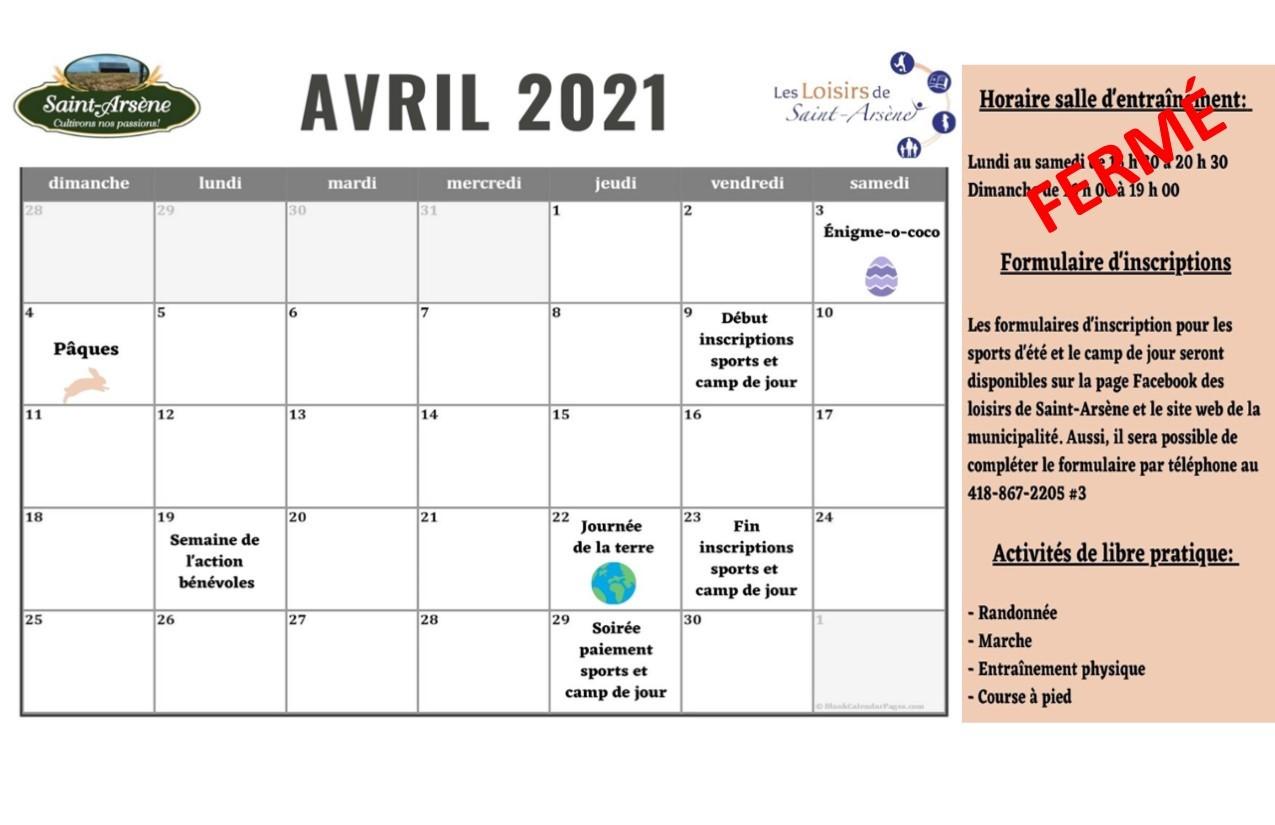 Calendrier activités Loisirs Avril 2021 (Auteur : Louise Gagnon)