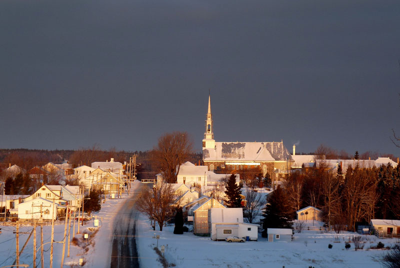 Vue du village de décembre (Photo : © MRC de Rivière-du-Loup)